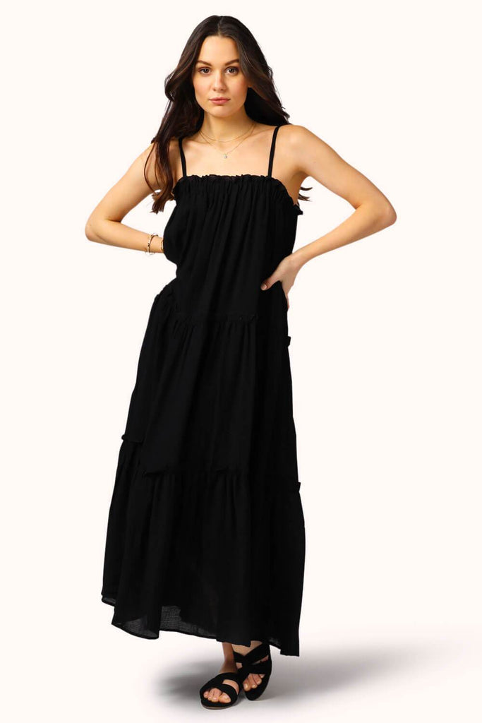 Getaway Ruffle Midi Dress Black MILK MONEY