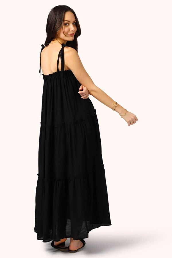 Getaway Ruffle Midi Dress black back MILK MONEY