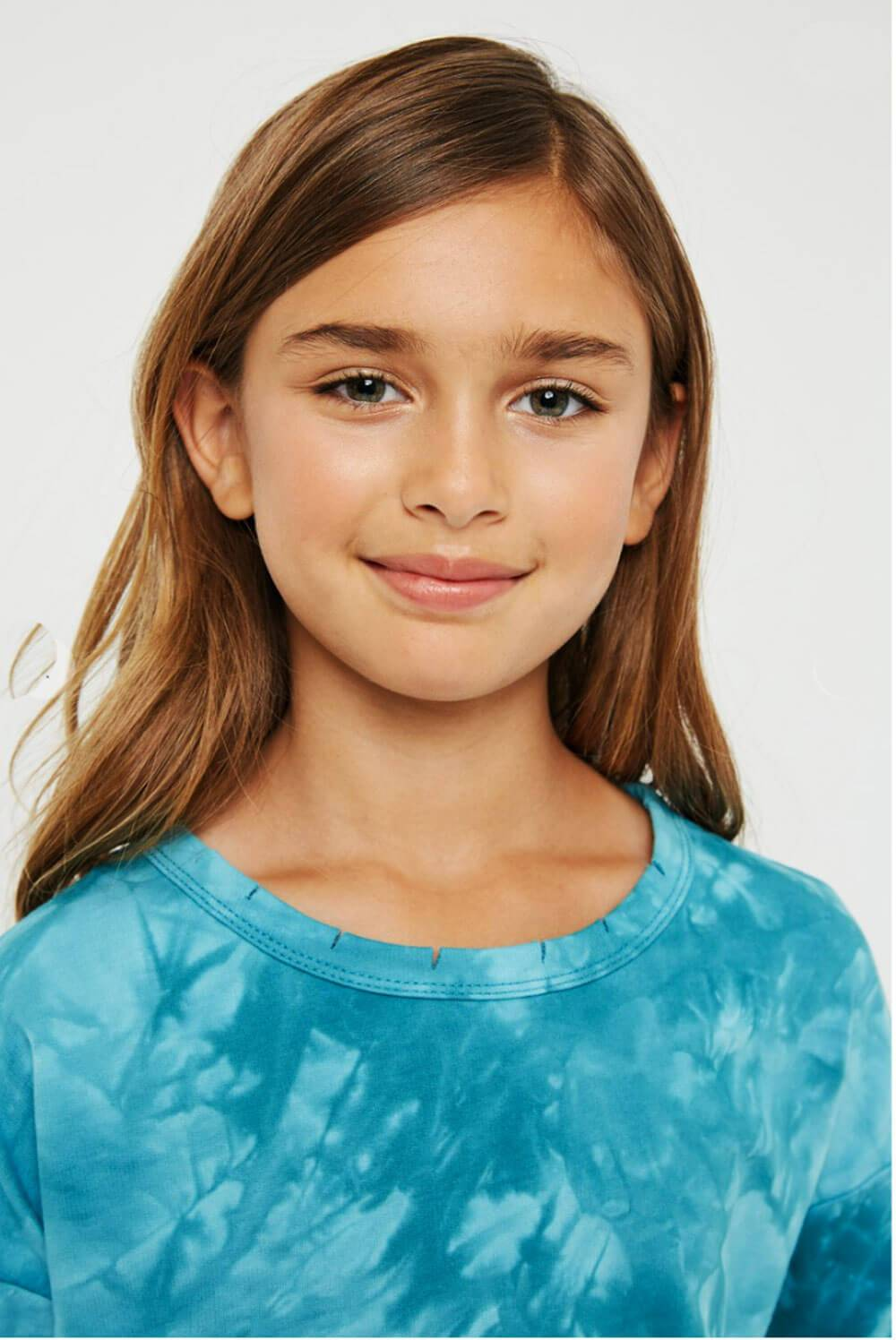 Girls Distressed Crew Neck Tie Dyed Sweatshirt teal detail MILK MONEY Kids