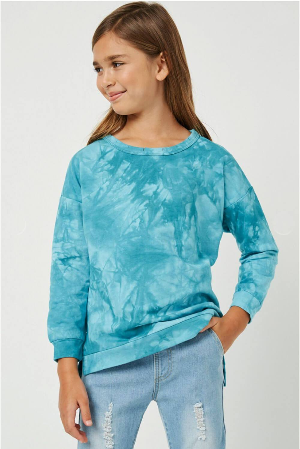 Girls Distressed Crew Neck Tie Dyed Sweatshirt teal front MILK MONEY Kids