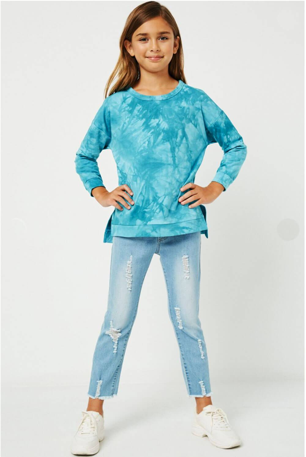 Girls Distressed Crew Neck Tie Dyed Sweatshirt teal full MILK MONEY Kids