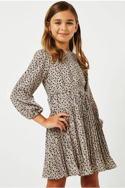 Girls Ditsy Print Pleated Skirt Midi Dress taupe side MILK MONEY Kids