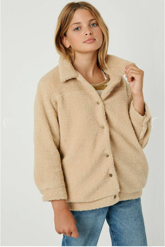 Girls Sherpa Soft Jacket taupe front MILK MONEY Kids