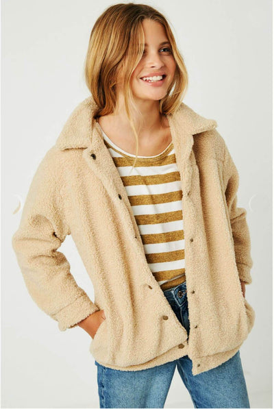 Girls Sherpa Soft Jacket taupe MILK MONEY kids