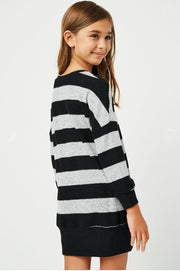 Girls Stripe Soft Knit Mini Dress black back MILK MONEY Kids