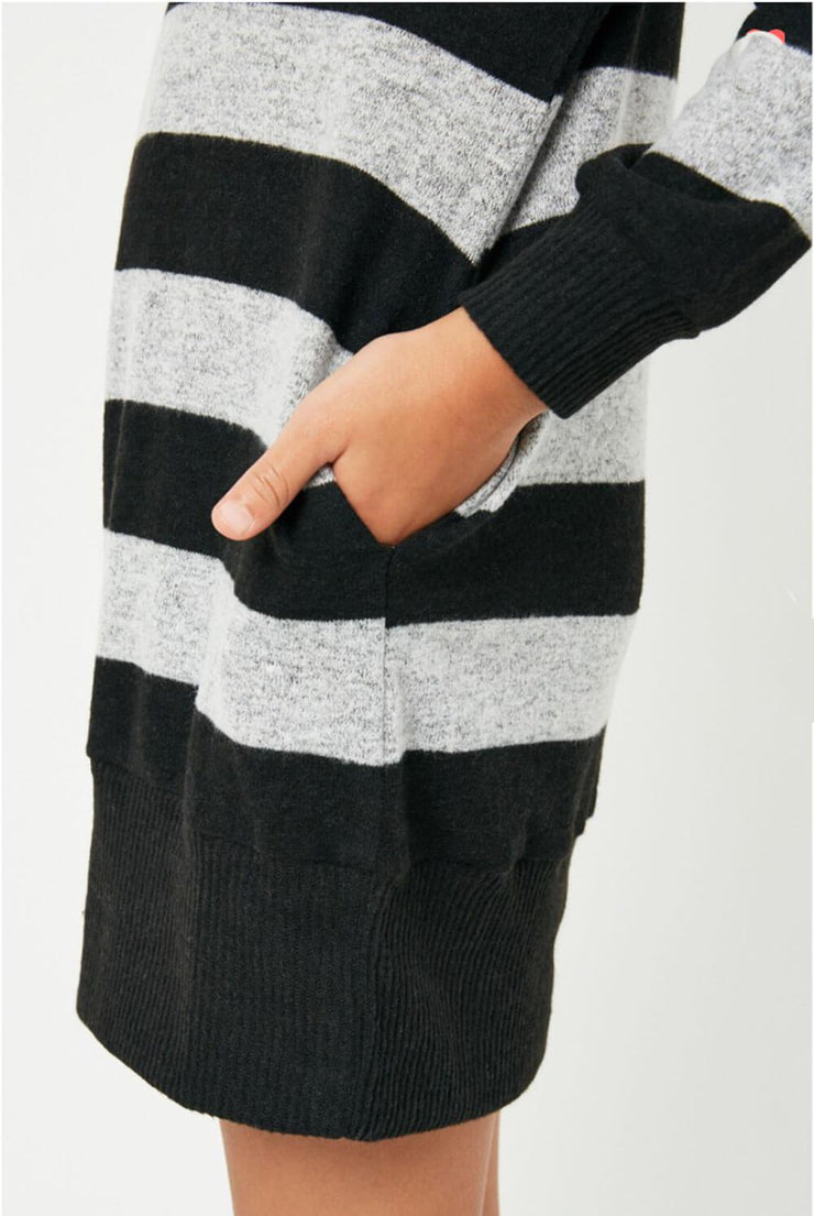 Girls Stripe Soft Knit Mini Dress black side MILK MONEY Kids