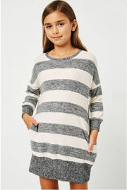 Girls Stripe Soft Knit Mini Dress grey front MILK MONEY KIds