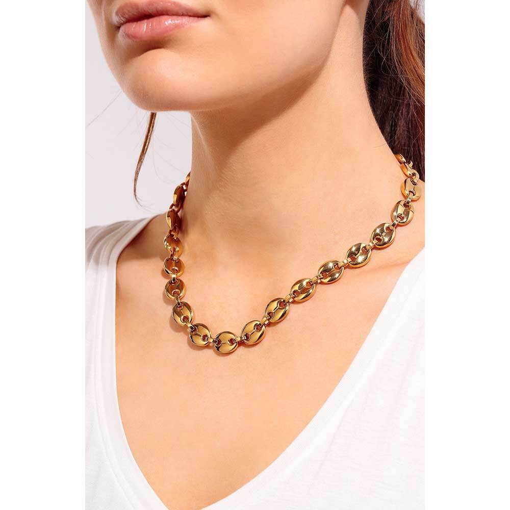 Glam Hollow Puff Chain Necklace model - MILK MONEY