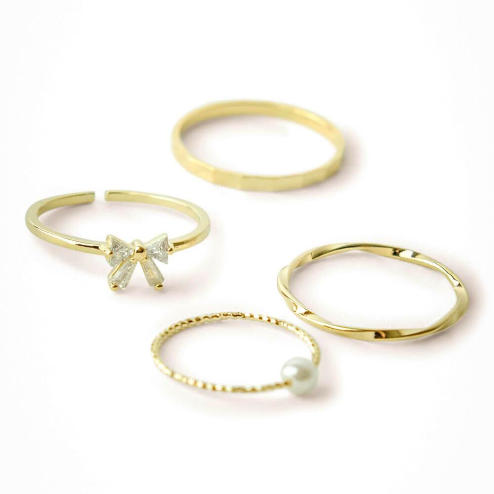 Gold Crystal Bow Ring Set 4 - MILK MONEY
