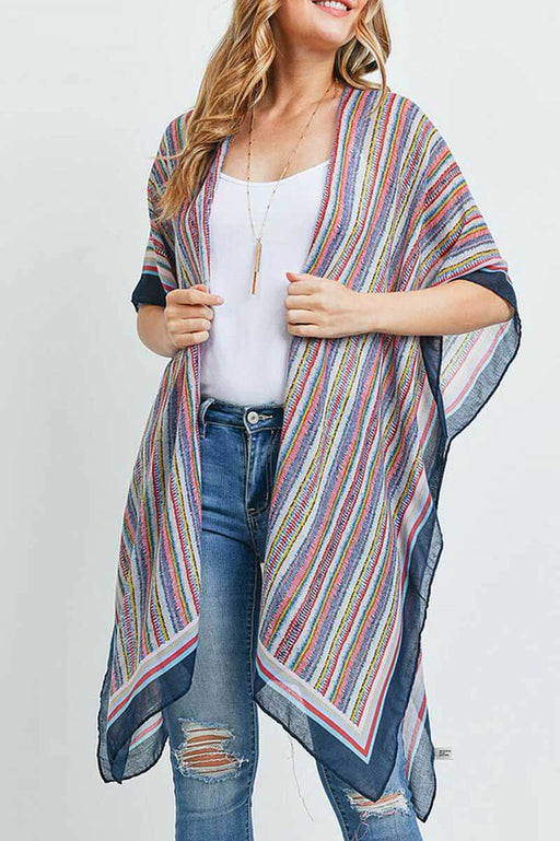 Hamptons Multi Colored Striped Kimono navy side | MILK MONEY milkmoney.co | swimsuit cover up. bathing suit cover ups. womens swimsuit coverups. womens beach cover ups. swimsuit coverups. pool cover ups.