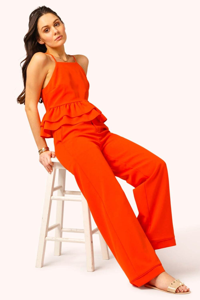 Hampton's Ruffle Pant Suit Set coral MILK MONEY