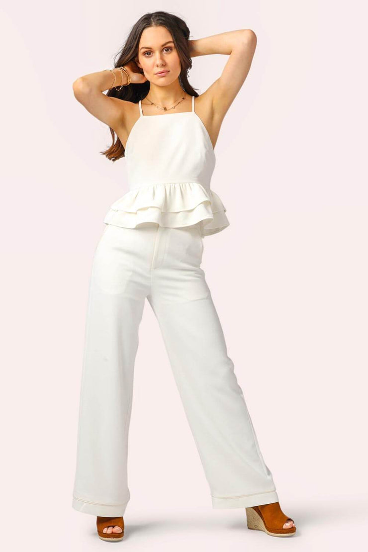 Hampton's Ruffle Pant Suit Set white MILK MONEY