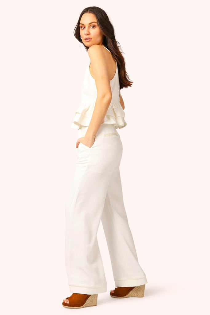 Hampton's Ruffle Pant Suit Set white side MILK MONEY