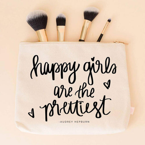 Happy Girls Are The Prettiest Makeup Bag white lifestyle MILK MONEY