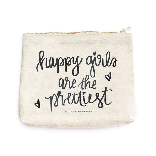 Happy Girls Are The Prettiest Makeup Bag white MILK MONEY