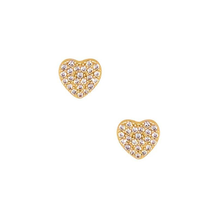 Heart Pave Stud Earrings gold front MILK MONEY