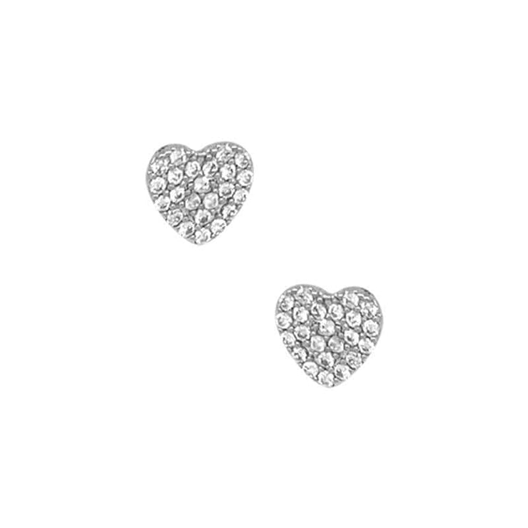 Heart Pave Stud Earrings silver front MILK MONEY