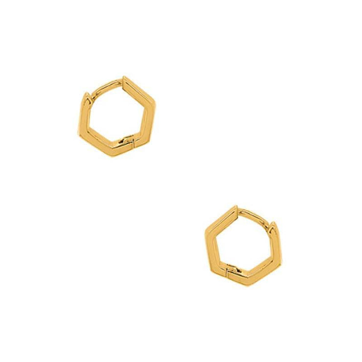 Hex Huggie Hoop Earrings gold side MILK MONEY