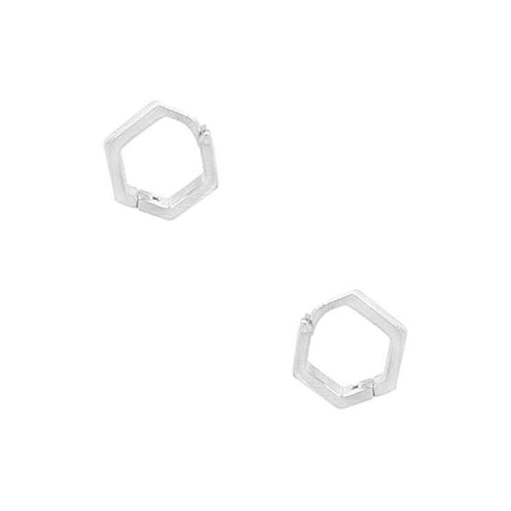 Hex Huggie Hoop Earrings silver side MILK MONEY