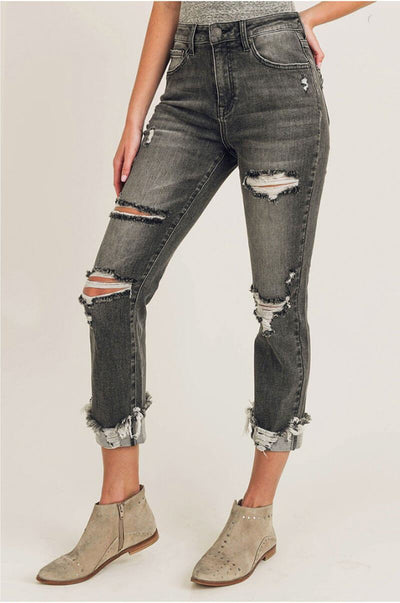 High Rise Distressed Straight Leg Jeans black front MILK MONEY