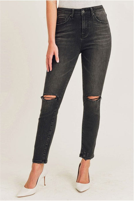 High Rise Skinny Distressed Knee Jeans black front MILK MONEY
