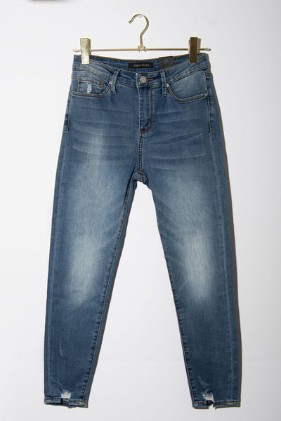 High-Rise Skinny Jeans blue front MILK MONEUY