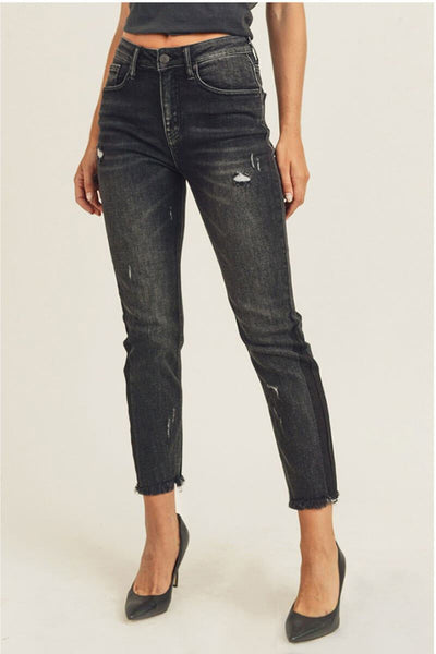 High Waisted Relaxed Skinny Vintage Jeans black front MILK MONEY