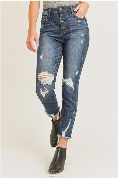 High Waisted Skinny Distressed Button Fly Jeans blue Front MILK MONEY