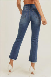 High Waisted Straight Ankle Cut Jeans blue back MILK MONEY