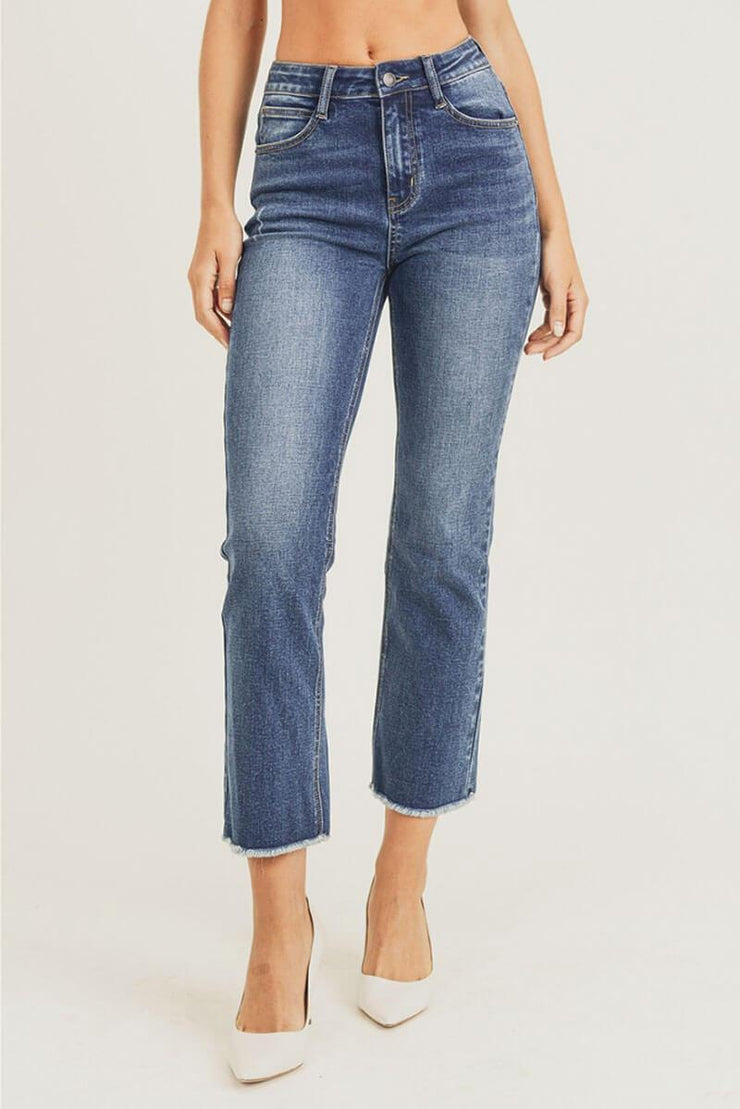 High Waisted Straight Ankle Cut Jeans blue front MILK MONEY