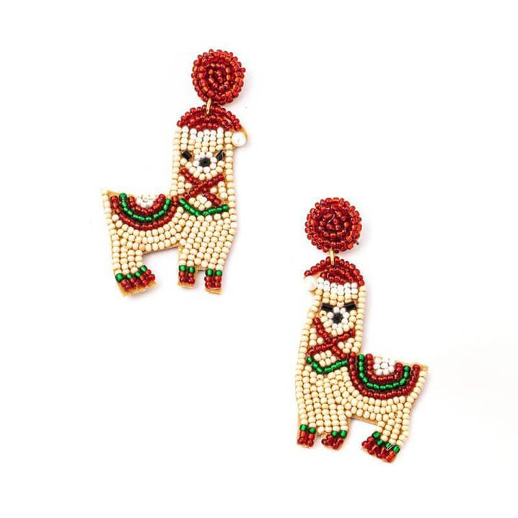 Holiday Llama Beaded Earrings
