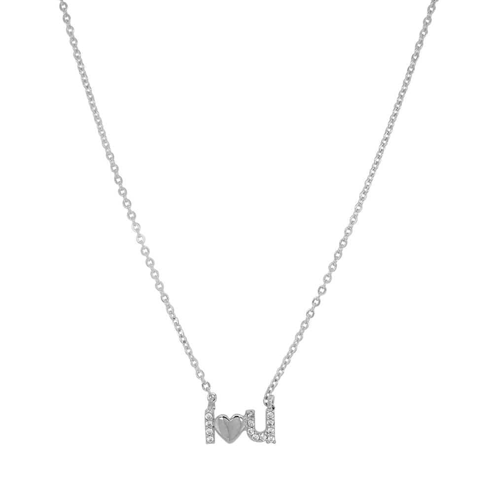 I Love You Charm Necklace Silver MILK MONEY