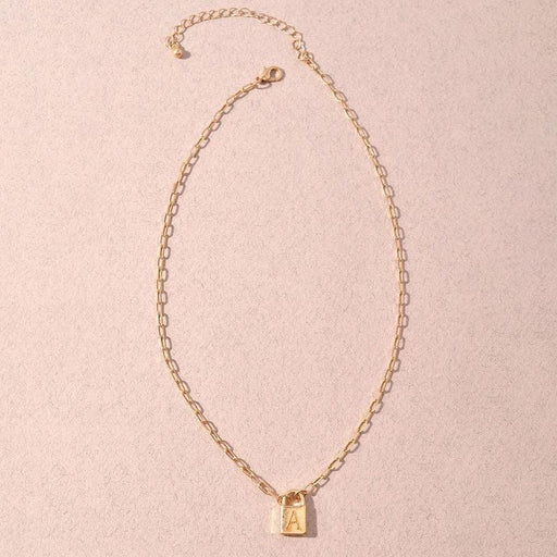 Initial Lock Charm Necklace gold MILK MONEY