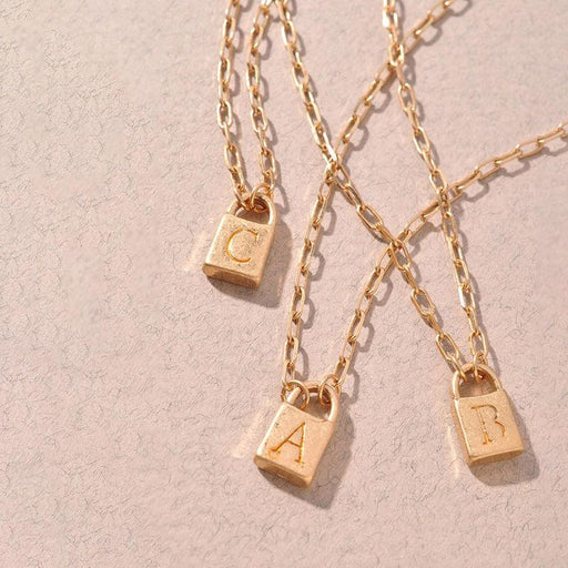 Initial Lock Charm Necklace gold group MILK MONEY
