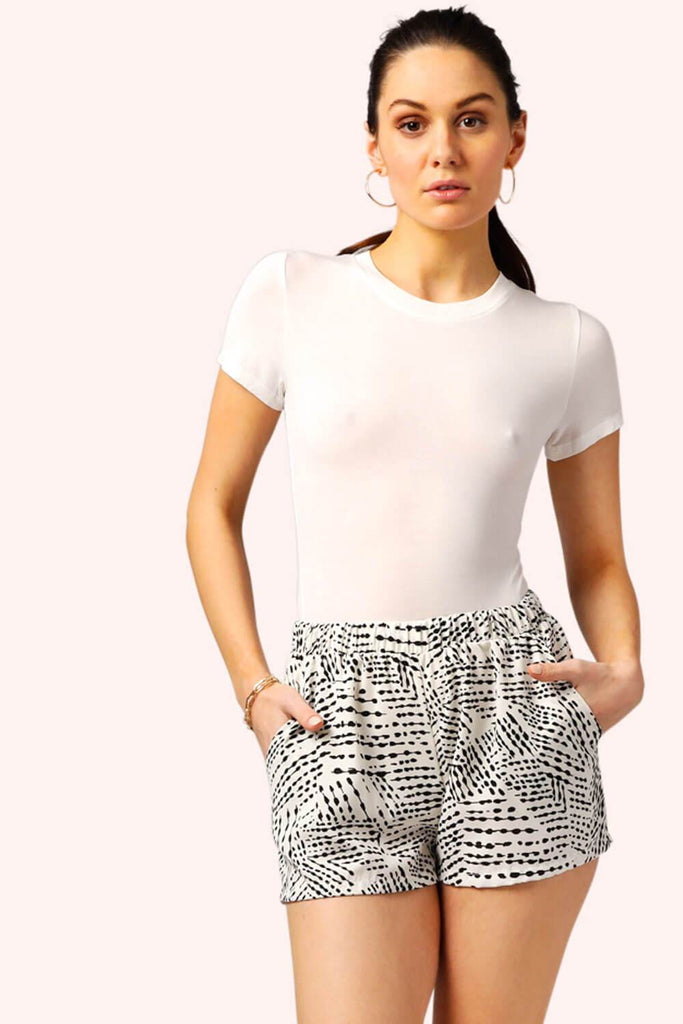 Inkblot Silk Sun Shorts white pockets MILK MONEY