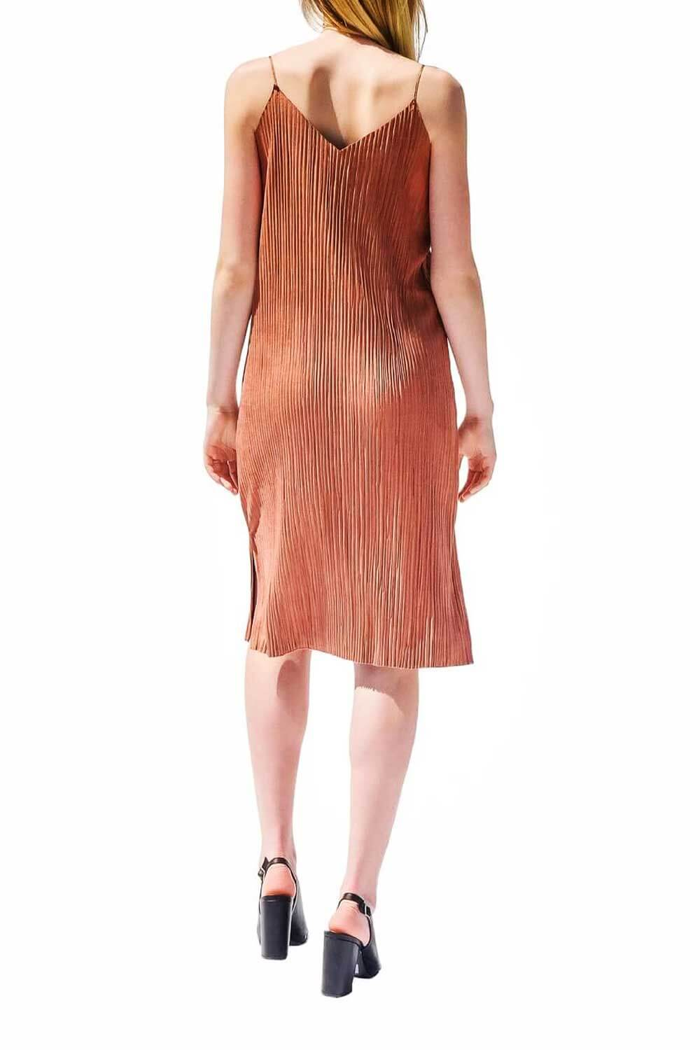 Isaac Pleated Dress Rust - MILK MONEY
