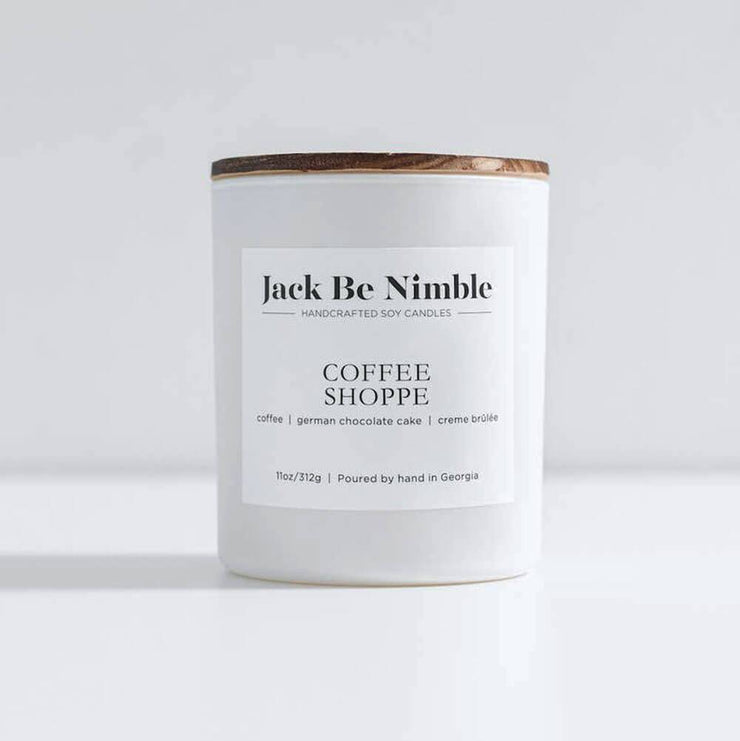 Jack Be Nimble Candles 11oz Coffee Shoppe Soy Candle white front MILK MONEY