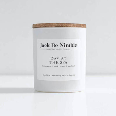 Jack Be Nimble Candles 11oz Day At The Spa Soy Candle white front MILK MONEY