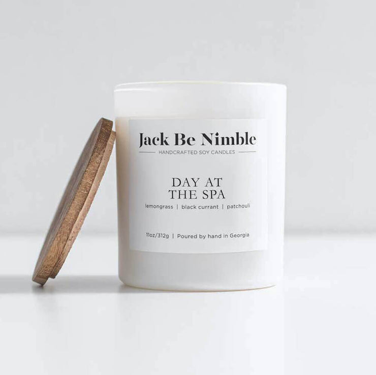 Jack Be Nimble Candles 11oz Day At The Spa Soy Candle white lid MILK MONEY