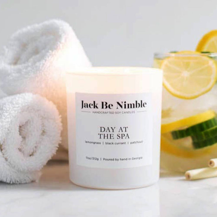 Jack Be Nimble Candles 11oz Day At The Spa Soy Candle white lifestyle MILK MONEY