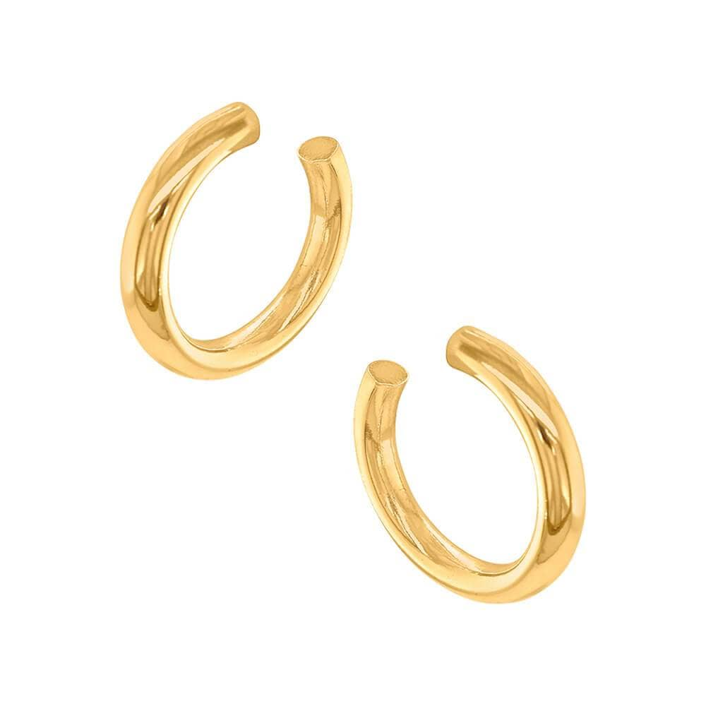 Jak Thick Hoop Earrings gold side MILK MONEY