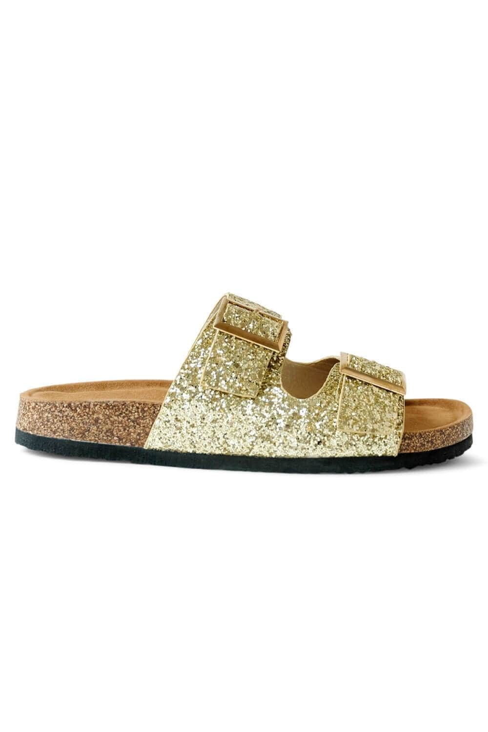 Janey Glitter Birk Sandals gold side MILK MONEY