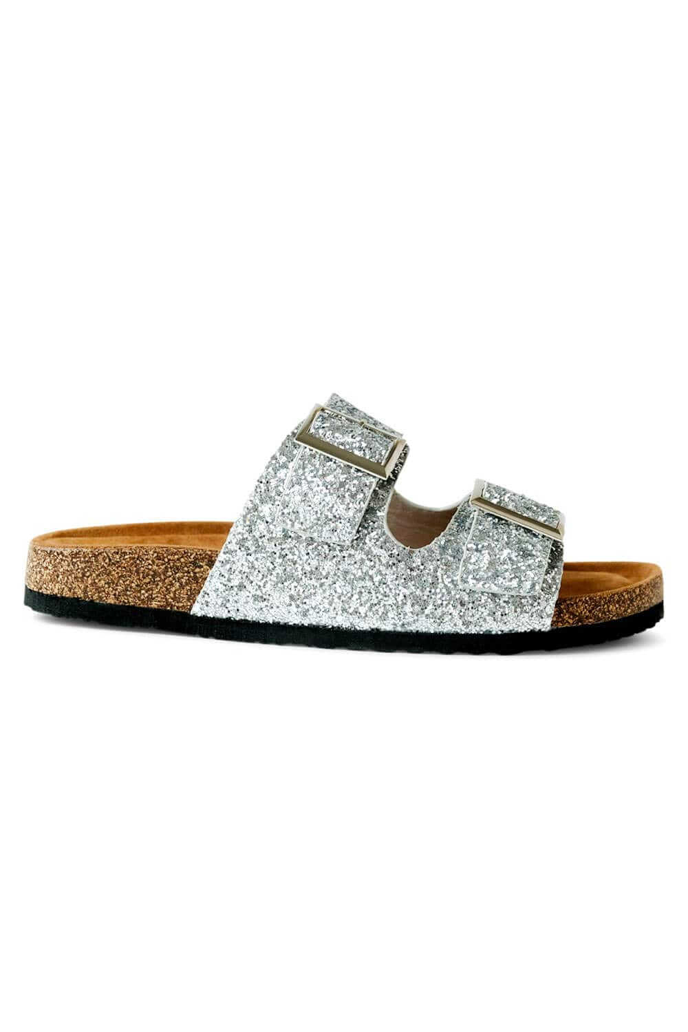 Janey Glitter Birk Sandals silver side MILK MONEY