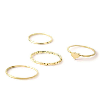 Josie Heart Ring Set Gold - MILK MONEY