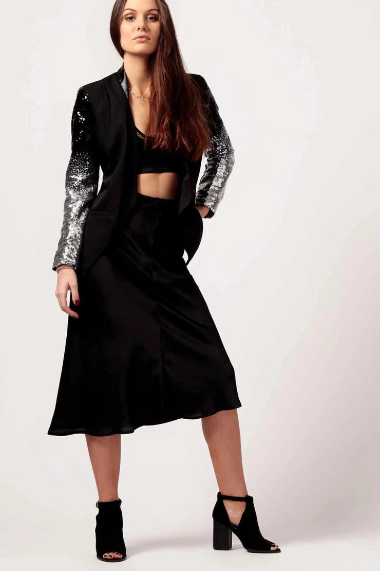 Party Girl Silk Skirt Black - MILK MONEY