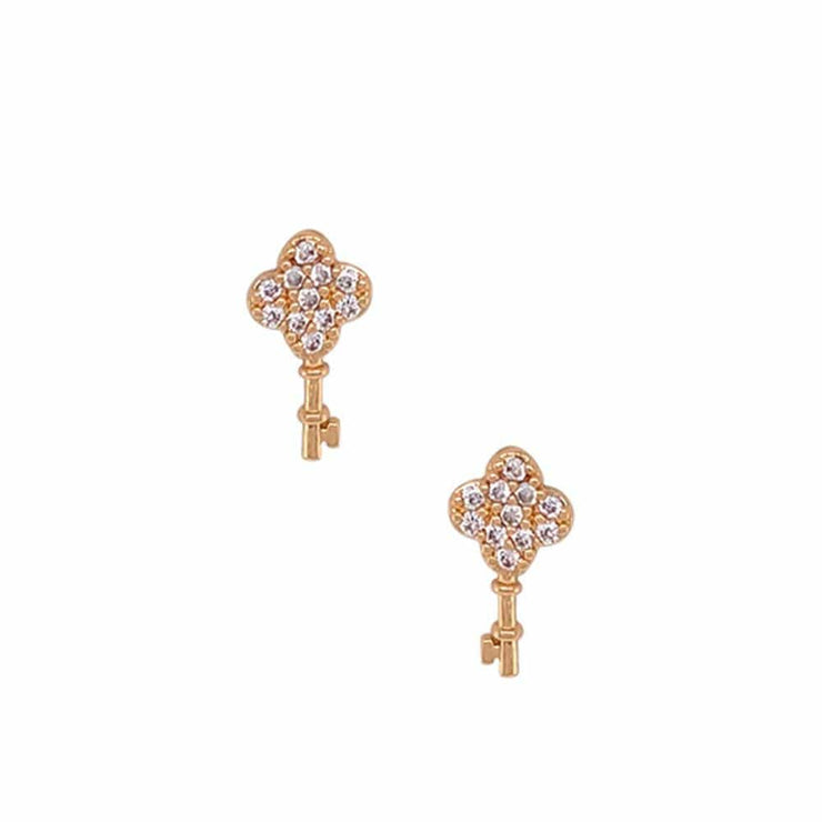 Key To My Heart Pave Stud Earrings gold front MILK MONEY