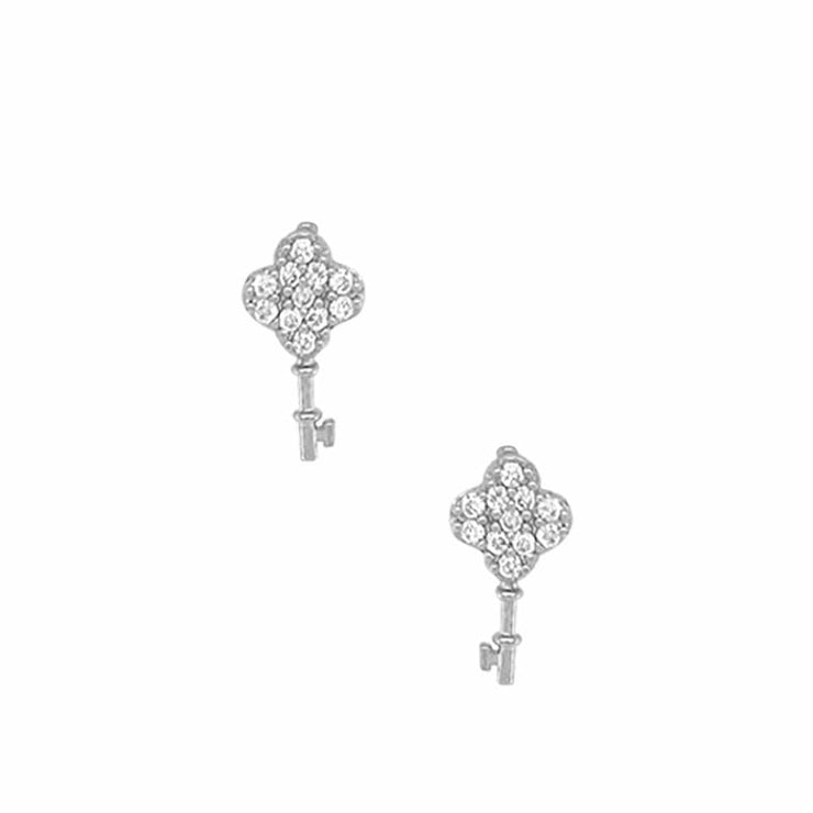 Key To My Heart Pave Stud Earrings silver front MILK MONEY