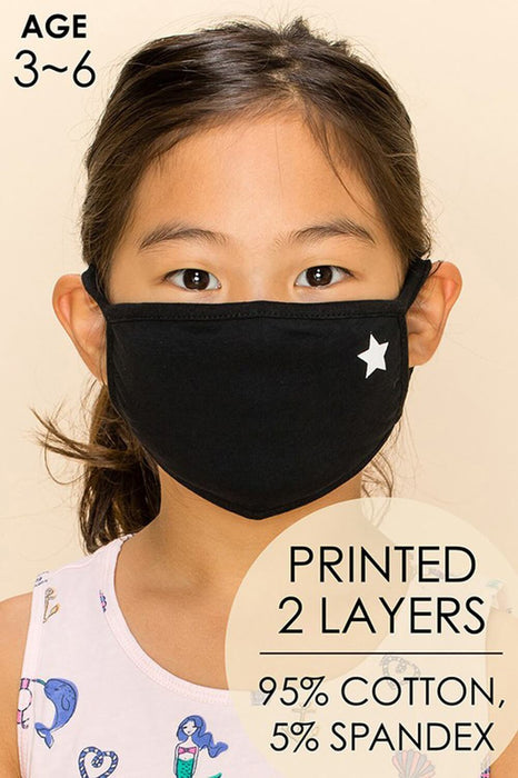 Kids Star Emblem Face Mask black model MILK MONEY