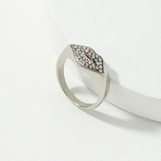 Women's Kisses Kisses Pave Lip Ring silver side | MILK MONEY | milkmoney.co