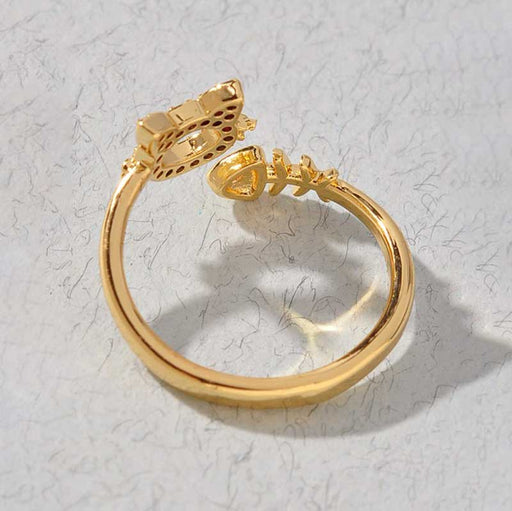 Women's Kitty and Fish Layering Ring gold back | MILK MONEY | milkmoney.co